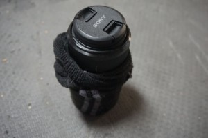 Telephoto Lense with Sock on It